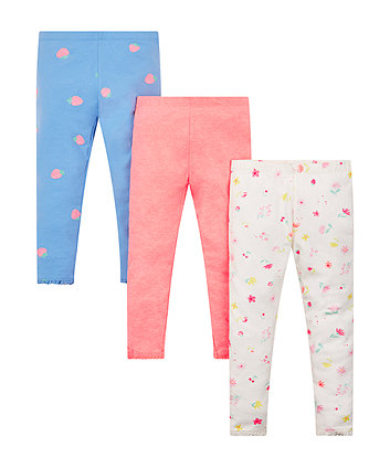 Pink And Blue Patterned Leggings - 3 Pack