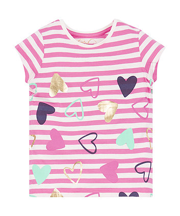 Mothercare Stripe Hearts T-Shirt