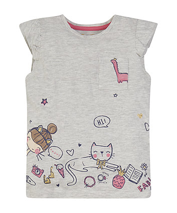 Mothercare Grey Cat Border T-Shirt