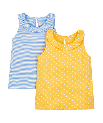 Mothercare Spotty And Stripy Vests - 2 Pack
