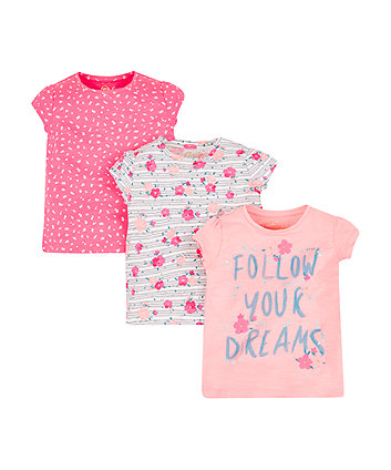 Mothercare Follow Your Dreams T-Shirts - 3 Pack
