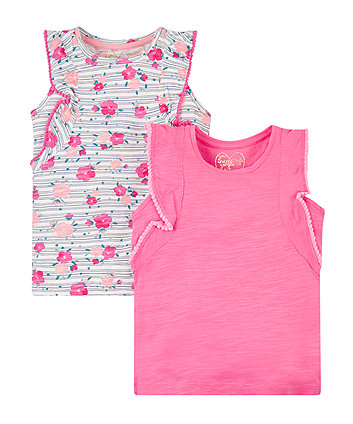 Mothercare Pink And Floral Vests - 2 Pack