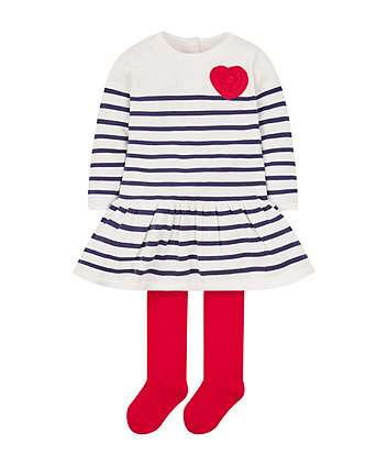 knitted stripe dress and tights set