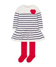 Mothercare Knitted Stripe Dress And Tights Set