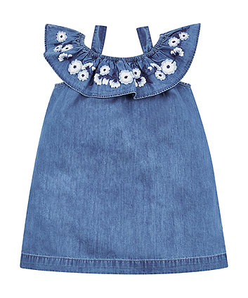 Embroidered Chambray Frill Dress