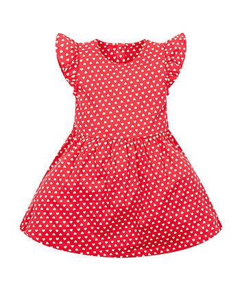 red heart jersey dress