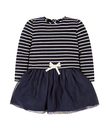 Mothercare Navy Stripe Twofer Dress