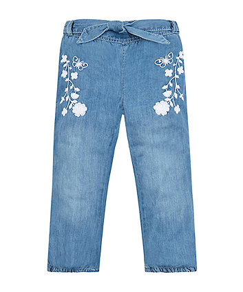 denim look embroidered jogger jeans