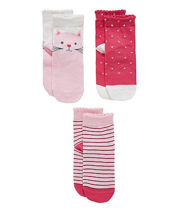 Pink Cat Socks - 3 Pack