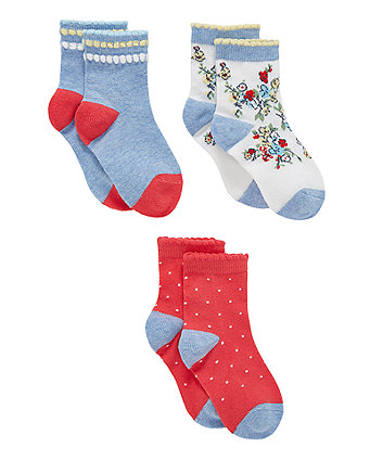 White Floral Socks - 3 Pack