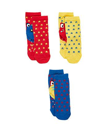 Dino Heel Slip Resist Socks - 3 Pack
