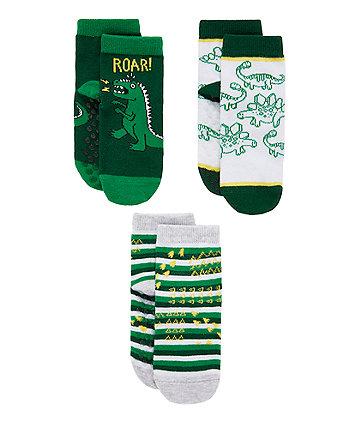 Green Dino Slip-Resist Socks - 3 Pack