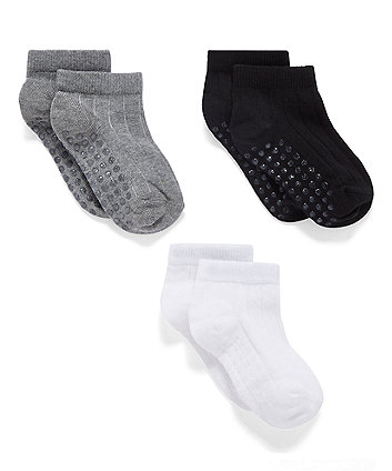 Mothercare Black, White And Grey Slip Resist Ribbed Trainer Socks - 3 Pack