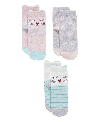 Novelty Cat Slip-Resist Socks - 3 Pack