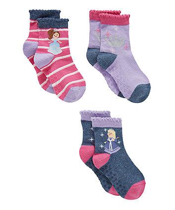 Princess Slip Resistant Socks - 3 Pack
