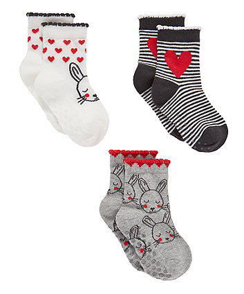 Bunny And Heart Slip-Resist Socks - 3 Pack