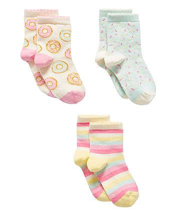 Mothercare Donut Slip Resistant Socks - 3 Pack