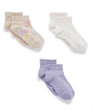 Mothercare Butterfly And Spot Slip Resist Tranier Socks - 3 Pack