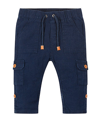 Mothercare Blue Linen Mix Trousers