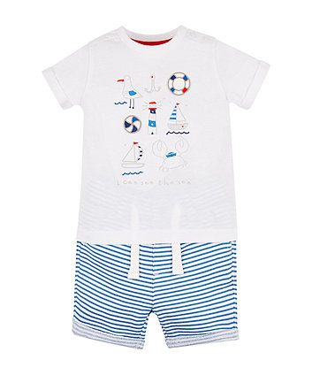 Mothercare I Can See The Sea T-Shirt And Shorts Set