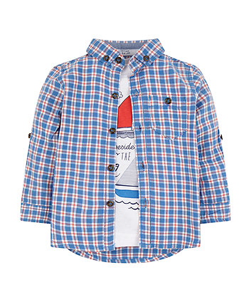 Mothercare Check Shirt And Seaside T-Shirt Set