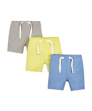 Mothercare Blue, Yellow And Grey Shorts - 3 Pack