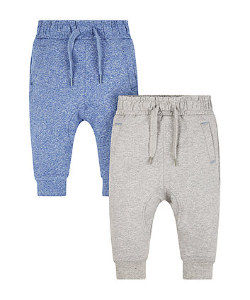Mothercare Greyl And Blue Grindle Joggers - 2 Pack