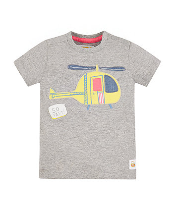Mothercare Grey Helicopter T-Shirt