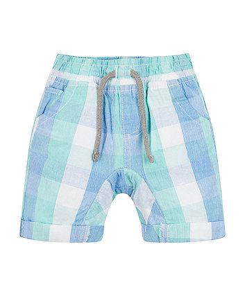 Blue And Green Checked Shorts