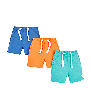 Mothercare Orange, Blue And Green Shorts - 3 Pack