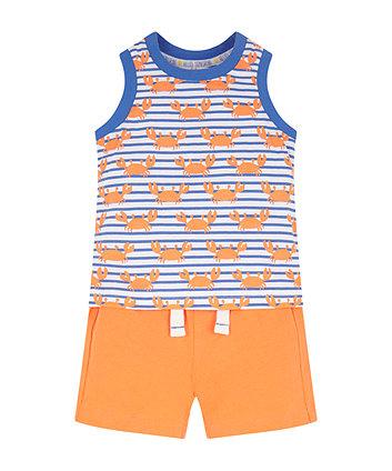 Stripe Crab Top And Shorts Set