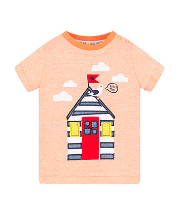Mothercare Orange Stripe Beach Hut T-Shirt