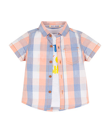 Mothercare Check Shirt And Sunshine T-Shirt Set