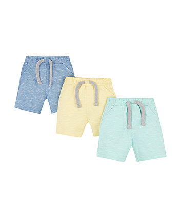 Mothercare Blue, Yellow And Green Jersey Shorts - 3 Pack