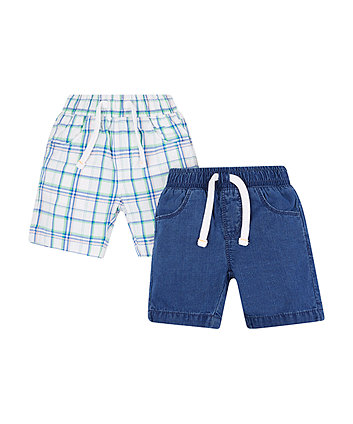 Mothercare Blue And Green Check And Denim Shorts - 2 Pack