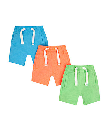 Mothercare Blue, Orange And Green Shorts - 3 Pack