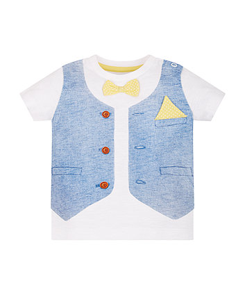 Mothercare Waistcoat And Bow Tie Trompe L'Oiel T-Shirt