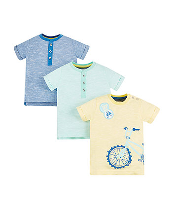 Mothercare Yellow Slub, Blue And Green Striped T-Shirts - 3 Pack