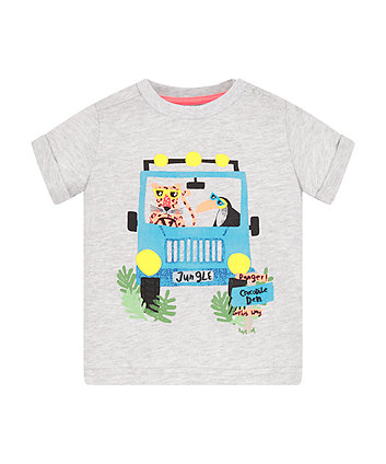 Mothercare Grey Animal Jeep T-Shirt