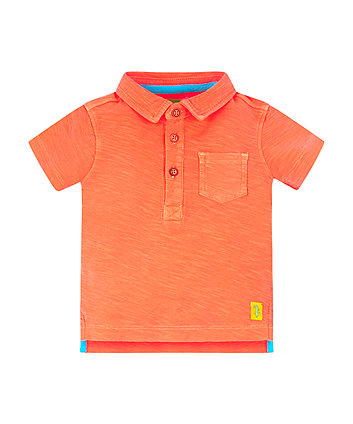 Mothercare Orange Reverse Slub Polo Shirt