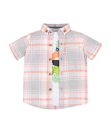 Mothercare Orange Check Shirt And T-Shirt