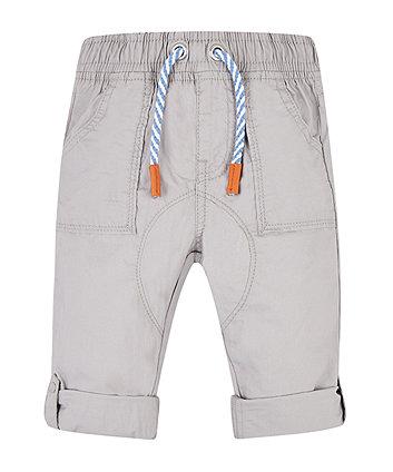 Grey Poplin Roll Up Trousers