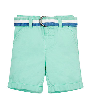 Green Belted Twill Shorts