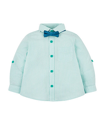 Mothercare Gren Striped Shirt And Bow Tie Set
