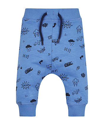Mothercare Blue Doodle Joggers