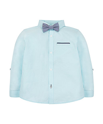 Aqua Shirt And Bow Tie Set