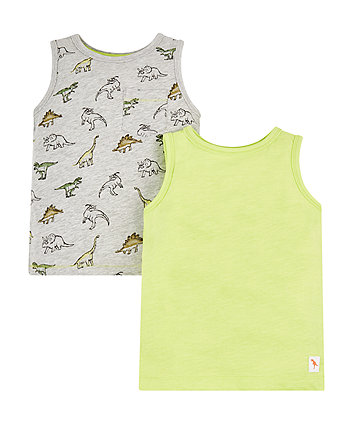 Mothercare Lime And Grey Dino Vests - 2 Pack