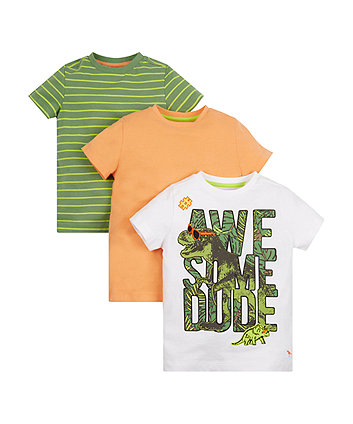 Mothercare Awesome Dude Dino T-Shirts - 3 Pack