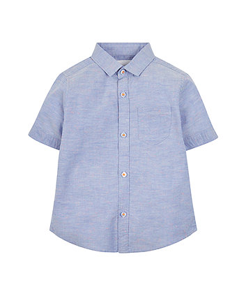 Mothercare Blue Chambray Neon Nep Shirt