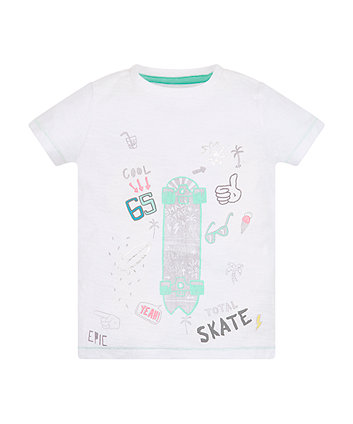 Mothercare White Skate T-Shirt